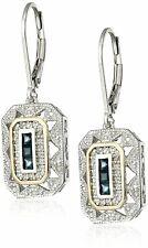 Blue Zircon Drop Dangle Vintage Jewelry White Cz Silver
