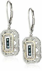 Vintage Jewelry White CZ Silver Blue Zircon Drop Dangle