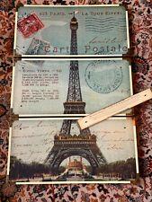 Three-Piece Eiffel Tower Printed Carte Postale Laminated Art Set