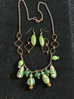 Copper Tone Green Lampwork Glass Drop Bead Pendant Necklace Earring Set