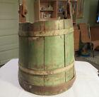 Antique Primitive Wooden Handle Staved Well Water Bucket Green Paint Metal Bands