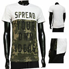 T Shirt Militaire Camouflage Homme Blanc Tshirts Manches courtes Col rond L Vert