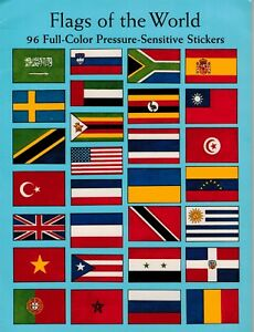 Flags of the World: 96 Full-Color Pressure-Sensitive Stickers, New