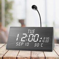 MEKO Wood Digital Alarm Clocks for Bedrooms Larger LED Display, 3 Levels, Snooze