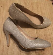 Ladies Dorothy Perkins Silver Sparkly Court Shoes Size 4