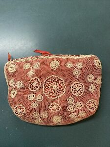 Beautiful Antique & Handmade crocheted sewing bag~ Satin Lining and Bow~
