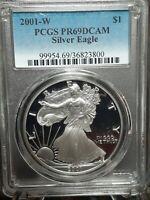 2001 W PCGS PR69DCAM Proof American Silver Eagle Coin