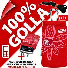 Nuevo Teléfono Rojo Golla Funda bolsa bolsa para/se ajusta Nokia 225, Samsung E1200 E1270