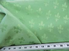 Discount Fabric Upholstery Drapery Twill Jacquard Fleur de Lis Mint Green DR31