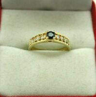Vintage Very Nice Egyptian 18ct Gold Blue Topaz And White Stone Ring Size M