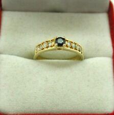 VINTAGE MOLTO BELLA egiziano 18ct Oro Topazio Blu E Anello pietra bianca taglia M