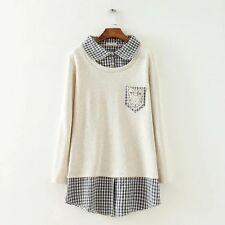 Brand New Japan Mori Style Pockets Checkers Shirt Blouse DressTop Size XS