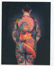 MODERN ADVERTISING POSTCARD WITH STUNNING FULL BODY TATTOO EROTIC ART 1990's