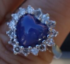 Moon star Blue stone Heart Single diamond vintage diamond ring 14k WG
