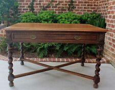 Antique English Oak Barley Twist Writing Desk Bureau Plat Library Table