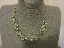 "CORO NECKLACE EARRINGS SET GOLD TONE AB BLUE STONES VINTAGE 16 1/2"" ADJUSTABLE"