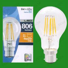 6W LED Vintage Retro Filament GLS Light Bulbs BC B22 Lamps Ultra Bright 806lm