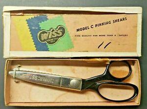 "Vintage WISS Pinking Shears Heavy Duty 7"" Model C w/Original Box PB74"