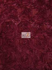 "ROSETTE STYLE TAFFETA FABRIC - Dark Burgundy - 52"" WIDTH YARD WEDDING GOWN DRESS"