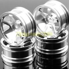 4P Aluminum 6 Spoke Wheel Rim 1052 SILVER 1/10 On-Road Drift Sakura HSP Tamiya