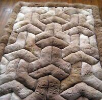 "New 52"" x 71"" Brown Alpaca Rug. ""Y"" Design. Soft fur. Rectangle"