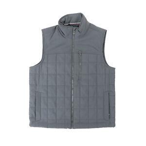 "Orvis Men Medium 44"" Full Zip Quilted Vest Gray Nylon Stretch"