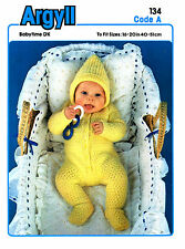Baby all in one with hood in DK knitting pattern 0217