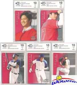 SHOHEI OHTANI 2018 Leaf Premier Rookie 5 Card RED PARALLEL #/200 Set BECKETT 10