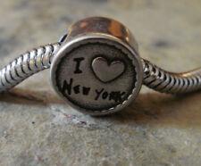 """Edelstahl Bead Element Rund """" I love New York"""" Antiksilber für Armband 1407"""