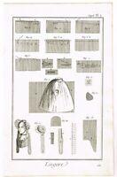 ANTIQUE PRINT VINTAGE 1777 COPPER PLATE DIDEROT SEAMSTRESS SEWING BERNARD DIREX