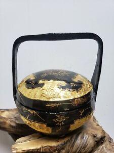 VTG  Black & Gold Chinese Lacquer Wood Bamboo Wedding Basket