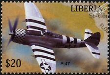 WWII USAAF Republic P-47 THUNDERBOLT D-Day Fighter Aircraft Stamp (Liberia)