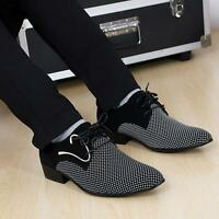 Fashion Mens Pointy Toe Dress Lace up Flat Formal Office Casual Wedding Shoes