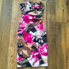Karen Millen Vestido Talla 6 Rosa Negro Floral | ajustada Ocasión Boda Inteligente