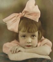 Vintage Cute Girl Pink Bow Photo Pretty Eyes Hand Colored 1930s