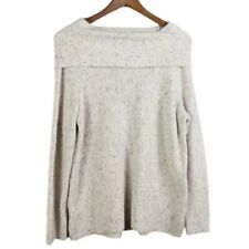Talbots Womens Off Shoulder Sweater Size LP Petites Ivory Confetti Cable Knit
