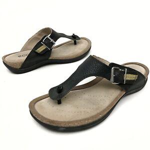 ✅💟✅@ Ecco Women's Black Leather Thong Sandals 40  9 US Buckle Slides Flip Flop