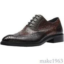 Retro Men Real Leather Pointy Toe Formal business Dress Shoes Lace Up Oxfords