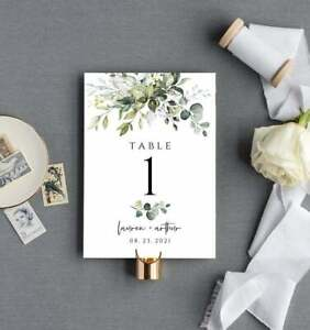 Sage Green Eucalyptus Handcrafted Wedding Table Numbers/Names - Personalised