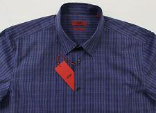 Men's HUGO BOSS Black Blue Plaid Shirt S Small NWT NEW $145+ Slim Fit