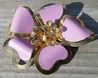 Vintage Purple Floral Pin Brooch Gold Tone