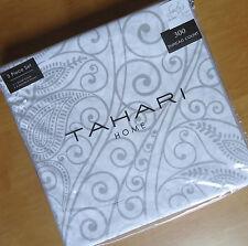 Tahari METALIC SILVER White 3pc QUEEN DUVET COVER Bed SET Gray Medallion COTTON