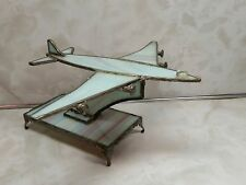"""Unique Stained Glass and Metal Jet Airplane Blue Purple 5.5"""" Tall"""