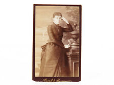 Beautiful Woman CDV Portrait Black Dress Bustle STRIKE A POSE!