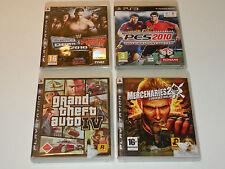 4 JEUX mercenaries 2 PES 2010 smack vs raw 2010 theft auto CONSOLE de JEUX PS3