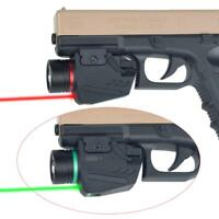 Tactical LED Flashlight Green / Red Laser Sight For 20mm Rail Mini Glock Pistol