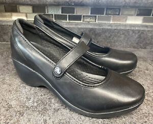 CROCS Ginger 10205 Wedge Mary Jane Black Leather Women's Size 10 $70