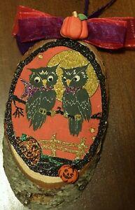 Hand Made: Owls,wood slice,Halloween Ornament,vtg img,glitter,pumpkin,moon