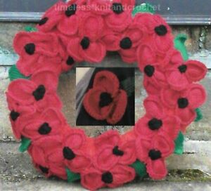 KNITTING PATTERN FOR BEAUTIFUL REMEMBRANCE DAY POPPY WREATH & POPPY