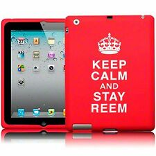 For Apple iPad 2/3 Keep Calm & Stay Reem Silicone Rubber Soft Skin Cover - Red